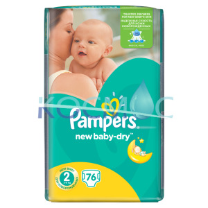 PAMPERS new baby-dry 2 3-6кг. 76 бр.