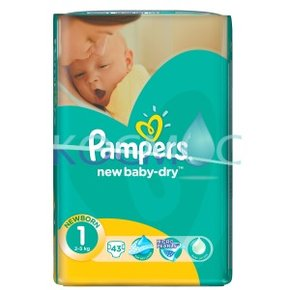 PAMPERS new baby-dry 1 2-5кг. 43 бр.